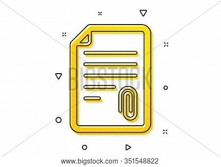 Document File Symbol. Cv Attachment Icon. Yellow Circles Pattern. Classic Attachment Icon. Geometric