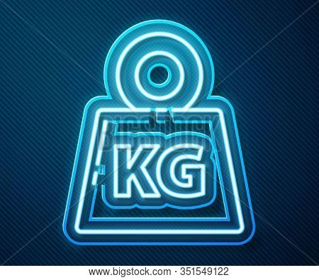 Glowing Neon Line Weight Icon Isolated On Blue Background. Kilogram Weight Block For Weight Lifting