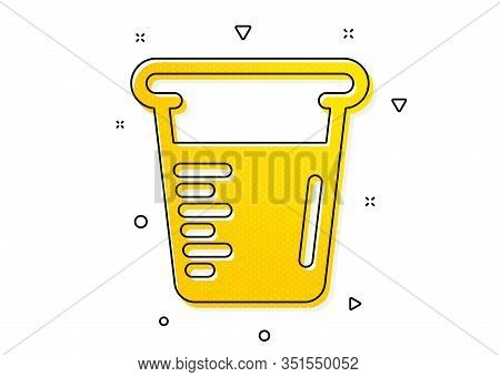 Glass Water Sign. Cooking Beaker Icon. Measuring Cup Symbol. Yellow Circles Pattern. Classic Cooking