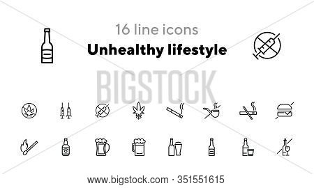 Unhealthy Lifestyle Line Icon Set. Set Of Line Icons On White Background. Beer, Match, Cigarette, Bu