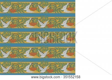 Vintage Seamless Pattern With Rowanberry And Dove. Zoomorphic Ornament. Art Nouveau Style. Vector.