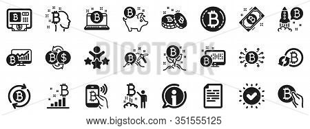 Set Of Blockchain, Crypto Ico Start Up And Bitcoin Icons. Cryptocurrency Icons. Mining, Cryptocurren