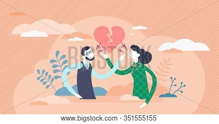 Pointing Fingers Gesture, Flat Tiny Persons Couple Vector Illustration. Male And Female Relationship