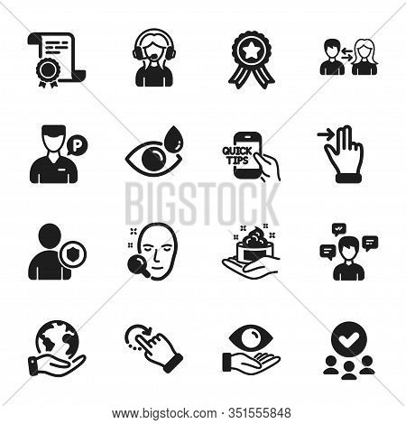 Set Of People Icons, Such As Support, Rotation Gesture. Certificate, Approved Group, Save Planet. Fa