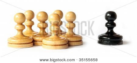 Racism Between Black And White Pawns Isolated