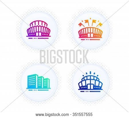Sports Arena, Buildings And Sports Stadium Icons Simple Set. Button With Halftone Dots. Arena Stadiu