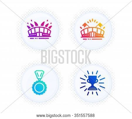 Sports Arena, Medal And Arena Stadium Icons Simple Set. Button With Halftone Dots. Trophy Sign. Even