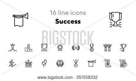 Success Line Icon Set. Winners, Leader, Award. Celebration Concept. Can Be Used For Topics Like Holi
