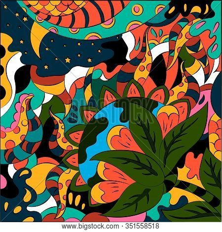 Bright Abstract Illustration On A Free Theme. Surreal Fantasy Vector Graphics