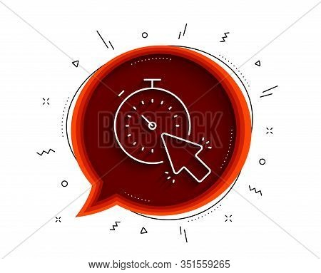 Timer Line Icon. Chat Bubble With Shadow. Time Or Clock Sign. Mouse Cursor Symbol. Thin Line Timer I