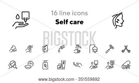 Self Care Line Icon Set. Shower, Scissors, Cream. Beauty Care Concept. Can Be Used For Topics Like H