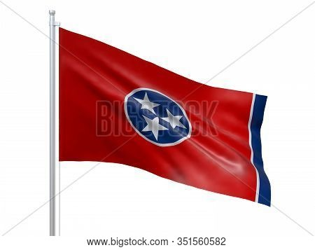 Tennessee (u.s. State) Flag Waving On White Background, Close Up, Isolated. 3d Render