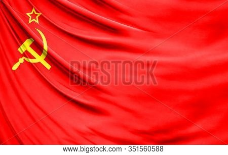 Realistic Flag Of Ussr On The Wavy Surface Of Fabric