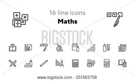 Math Line Icon Set. Set Of Line Icons On White Background. Calculation Concept. Calculator, Pencil,