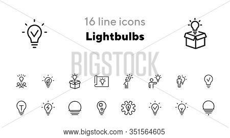 Lightbulbs Line Icon Set. Set Of Line Icons On White Background. Fresh Idea, Lamp, Man. Creativity C