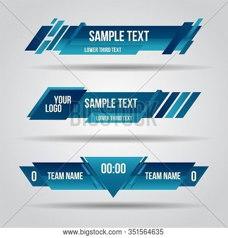Lower Third Blue Design Template Modern Contemporary. Set Of Banners Bar Screen Broadcast Bar Name.