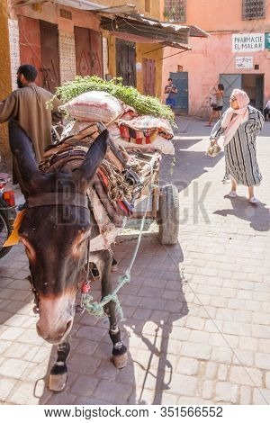 Marrakech, Morocco - September 9th 2010: Donkey In Typical Street Scene. Donkeys Are Still Used Exte