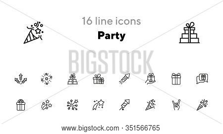 Party Line Icon Set. Crackers, Devil Horn Gesture, Gift, Firework. Holiday Concept. Can Be Used For