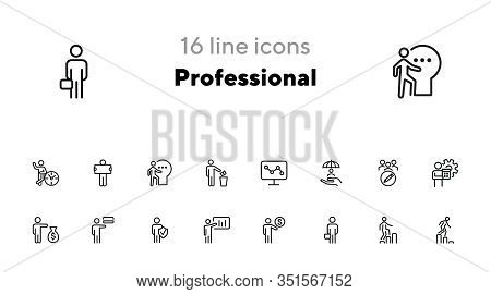 Professional Line Icon Set. Banker, Accountant, Investor, Seller. Business Concept. Can Be Used For