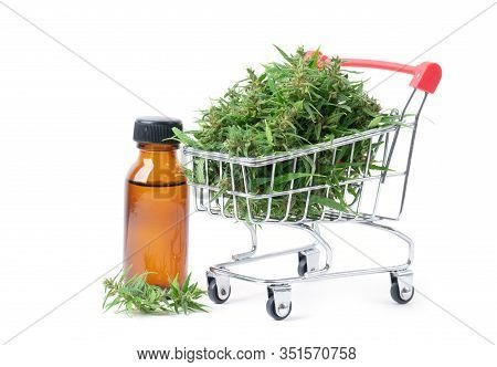 Cannabis With Cannabidiol Extract Isolated On White Background