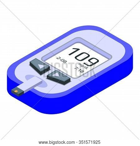 Medical Glucose Meter Icon. Isometric Of Medical Glucose Meter Vector Icon For Web Design Isolated O