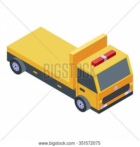Yellow Tow Truck Icon. Isometric Of Yellow Tow Truck Vector Icon For Web Design Isolated On White Ba
