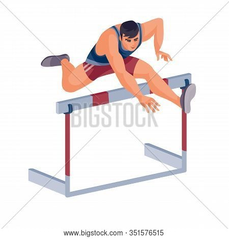 Men Takes Part In The Hurdle Race And Jumps Well Over The Barrier, Success, Goal, Isolated Object On