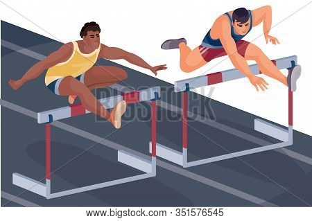 Hurdle Race, Two Men Compete And Jump Over The Hurdle On The Run,