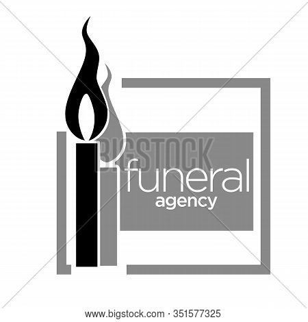 Interment Service, Funeral Agency Isolated Icon, Memorial Candle