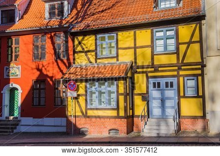 Yellow Half Timbered House In The Altstadt Of Stralsund, Germany