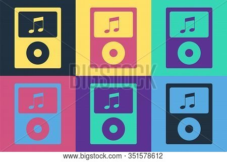 Pop Art Music Player Icon Isolated On Color Background. Portable Music Device. Vector Illustration