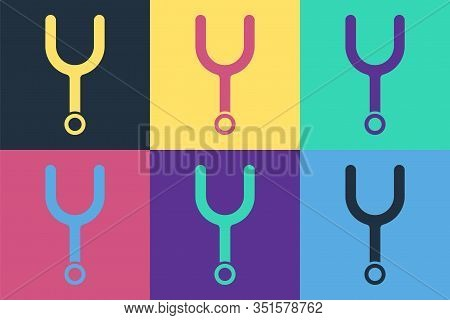 Pop Art Musical Tuning Fork For Tuning Musical Instruments Icon Isolated On Color Background. Vector