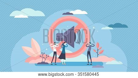 Stop Noise Sign Concept, Flat Tiny Person Vector Illustration. Sound Symbol And People Protesting. L