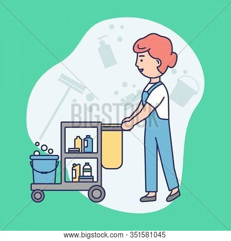 Cleaning Service Concept. Woman In Uniform With Janitorial Cleaning Trolley. Multi Purpose Janitoria