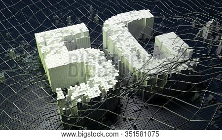 Small Boxes Forming The 5g Symbol On Dark Digital Background. 3d Illustration.