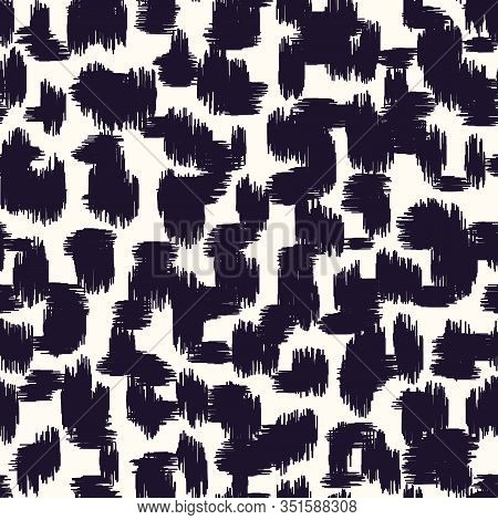 Black And White Abstract Hand-drawn Ikat Texture Spots Animal Skin Vector Seamless Pattern. Organic