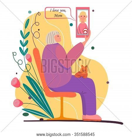 Call Your Mom. Cartoon Illustration For Mother's Day. Elderly Woman Sits On Bench, Holds Smartphone.