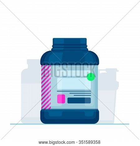 Vector Flat Whey Protein Container. Symbol Of Sports Nutrition Or Supplements.