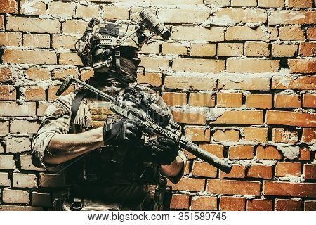 Shoulder Portrait Of Army Elite Troops Soldier, Anti-terrorist Tactical Team, Helmet With Thermal Im