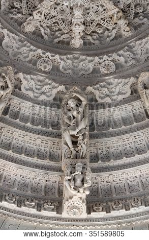 Ranakpur, India - January 8, 2019: Bas-relief With Dancing Apsara And Ganesh God At Famous Ancient R