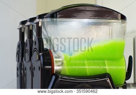 Slush Ice Drink Containers With Ice Drinks Outdoors.