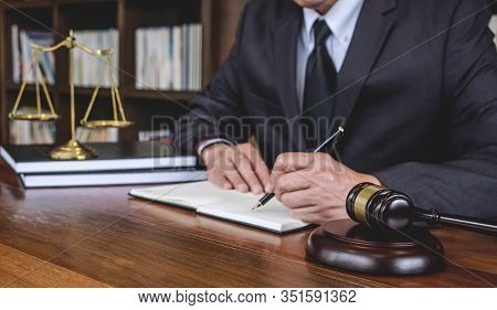 Legal Law, Advice And Justice Concept, Judge Gavel With Justice Lawyers, Counselor In Suit Or Lawyer