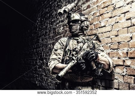 Special Operations Forces Soldier, Counter Terrorism Assault Team Fighter With Night Vision Device O