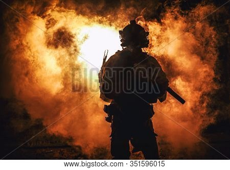 Silhouette Of Modern Infantry Soldier, Elite Army Fighter In Tactical Ammunition And Helmet, Standin