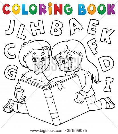 Coloring Book Kids And Literature Theme - Eps10 Vector Picture Illustration.