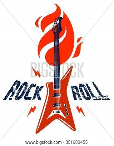 Rock And Roll Emblem With Electric Guitar Vector Logo, Concert Festival Or Night Club Label, Music T