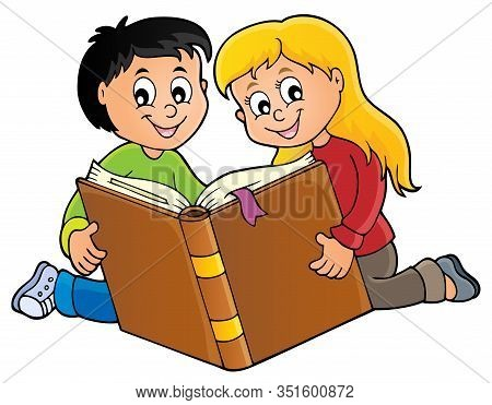 Kids Reading Book Theme 1 - Eps10 Vector Picture Illustration.