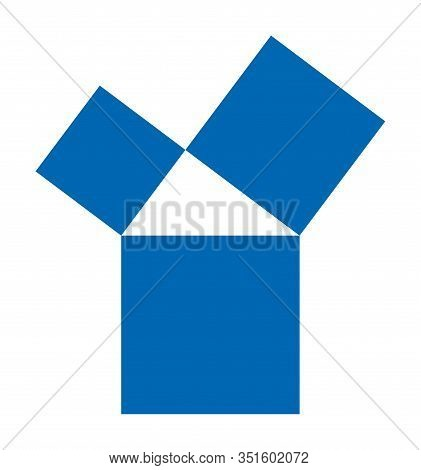 Pythagorean Theorem Shown With Three Blue Squares. Pythagoras Theorem. Relation Of Sides Of A Right