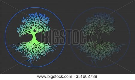 Stylish Collection Of Vector Illustrations Neon Tree Of Life Close-up. Flat Design Vector Gray Picto