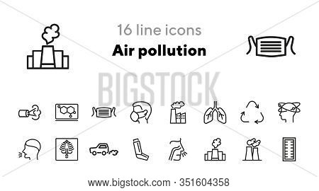 Air Pollution Icons. Set Of Line Icons. Air Filter, Allergy, Asthma Inhaler. Environmental Pollution